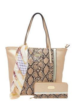 Esbeda Golden Snake Printed Tote Bag With Wallet & Scarf