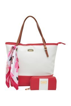 Esbeda Red Solid Tote Bag With Wallet & Scarf