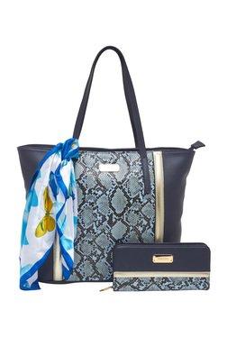 Esbeda Navy Snake Printed Tote Bag With Wallet & Scarf