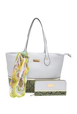 Esbeda Silver Python Printed Tote Bag With Wallet & Scarf