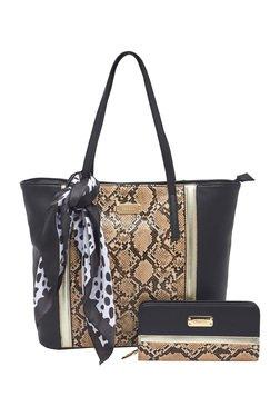 Esbeda Black Snake Printed Tote Bag With Wallet & Scarf