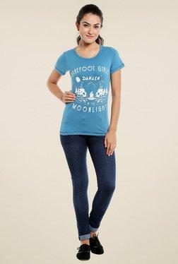 Loco En Cabeza Blue Round Neck T-Shirt