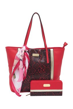 Esbeda Red Snake Printed Tote Bag With Wallet & Scarf