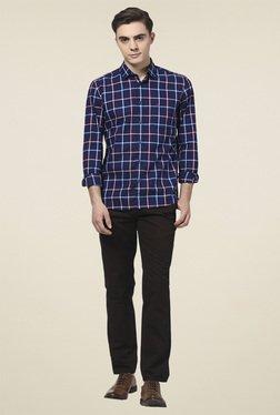 Parx Navy Blue Full Sleeves Cotton Shirt