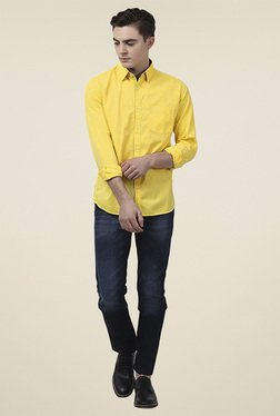 Parx Yellow Cotton Full Sleeves Slim Fit Shirt