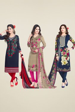 Salwar Studio Navy & Dark Beige Dress Material (Pack Of 3)
