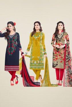 Salwar Studio Navy & Mustard Dress Material (Pack Of 3)