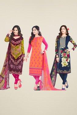 Salwar Studio Brown & Pink Dress Material (Pack Of 3)