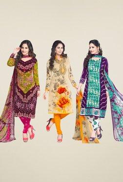 Salwar Studio Brown & Cream Dress Material (Pack Of 3)