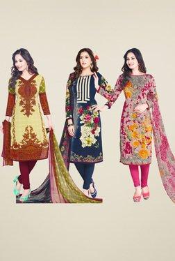 Salwar Studio Cream & Blue Dress Material (Pack Of 3)