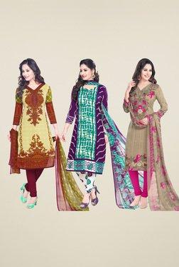 Salwar Studio Beige & Blue Dress Material (Pack Of 3)