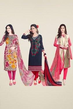 Salwar Studio Peach & Blue Dress Material (Pack Of 3)