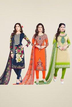 Salwar Studio Navy & Orange Dress Material (Pack Of 3)