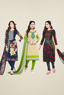 Salwar Studio Navy & Fawn Dress Material (Pack Of 3)