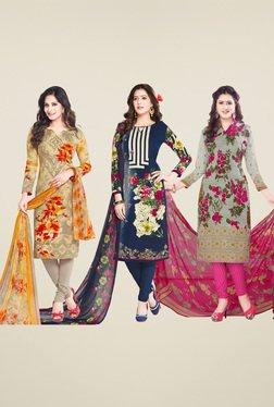 Salwar Studio Navy & Grey Dress Material (Pack Of 3)