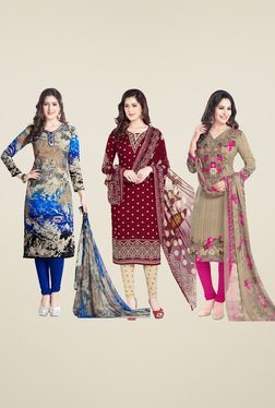 Salwar Studio Maroon & Blue Dress Material (Pack Of 3)