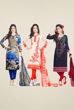 Salwar Studio Navy & Cream Dress Material (Pack Of 3)