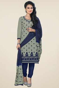 Salwar Studio Grey & Navy Embroidered Cotton Dress Material