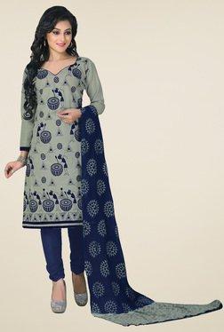 Salwar Studio Grey & Navy Printed Cotton Dress Material