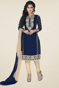 Salwar Studio Navy & Beige Embroidered Dress Material