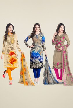 Salwar Studio Cream & Dark Blue Dress Material (Pack Of 3)