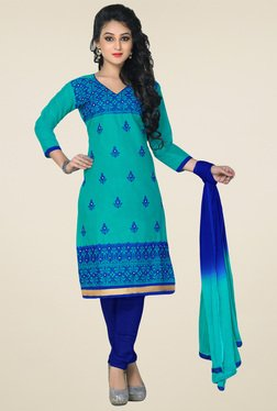 Salwar Studio Turquoise & Blue Embroidered Dress Material
