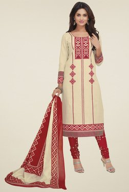 Salwar Studio Beige & Red Cotton Dress Material With Dupatta