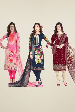 Salwar Studio Navy & Maroon Dress Material (Pack Of 3)