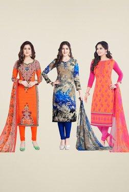 Salwar Studio Orange & Blue Dress Material (Pack Of 3)