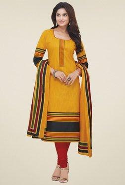 Salwar Studio Yellow Striped Dress Material With Dupatta