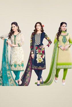 Salwar Studio Navy & Green Dress Material (Pack Of 3)