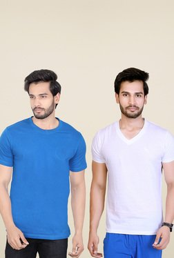 Lucfashion Blue & White Regular Fit T-Shirts (Pack Of 2)
