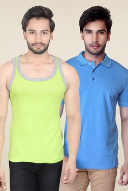 Lucfashion Lime Green & Sky Blue Cotton T-shirt (Pack Of 2)