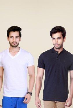Lucfashion White & Black Regular Fit T-Shirts (Pack Of 2)
