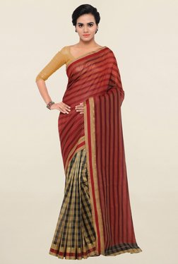 Triveni Beige & Red Checks Art Silk Saree