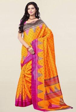 Ishin Yellow Printed Bhagalpuri Art Silk Saree