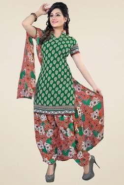 Aasvaa Green & Navy Printed Dress Material (Pack Of 2)