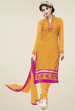 Aasvaa Yellow Cotton Embroidered Dress Material
