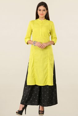 W Yellow Textured Kurta