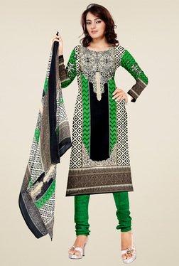 Aasvaa Cream & Green Printed Cotton Dress Material