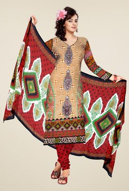Aasvaa Orange & Red Printed Cotton Dress Material