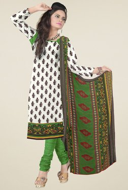 Aasvaa White & Green Printed Cotton Dress Material