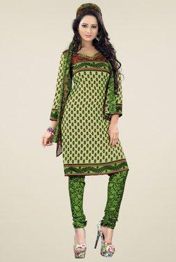 Aasvaa Green Printed Cotton Dress Material