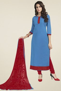 Aasvaa Blue & Red Dress  Solid Dress Material