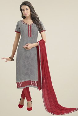 Aasvaa Grey & Red Dress  Solid Dress Material