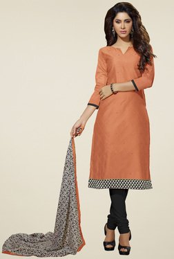 Aasvaa Orange & Black Dress Solid  Dress Material