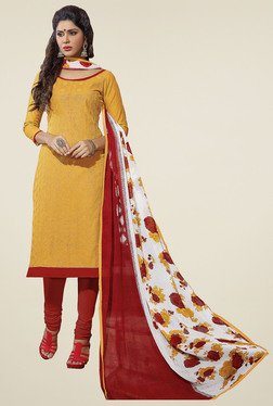 Aasvaa Yellow & Red Dress Solid  Dress Material