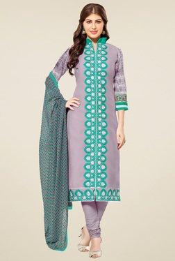 Aasvaa Mauve Embroidered Dress Material