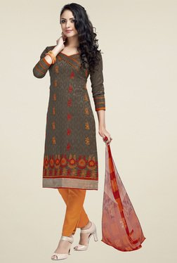 Aasvaa Brown Floral Embroidered Dress Material