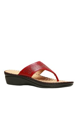 Scholl Swaroski Red Wedge Heeled Thong Sandals
